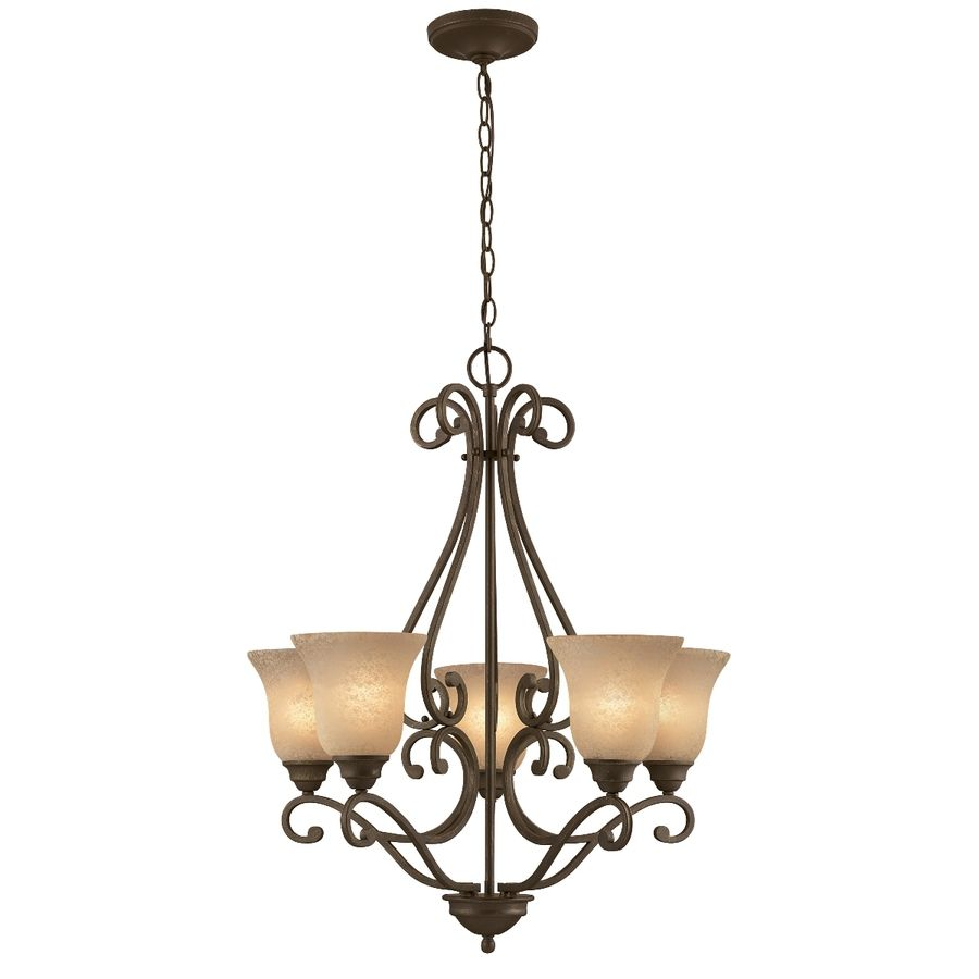 Foyer Pendant Lighting Lowes : Shop portfolio light linkhorn iron stone chandelier at