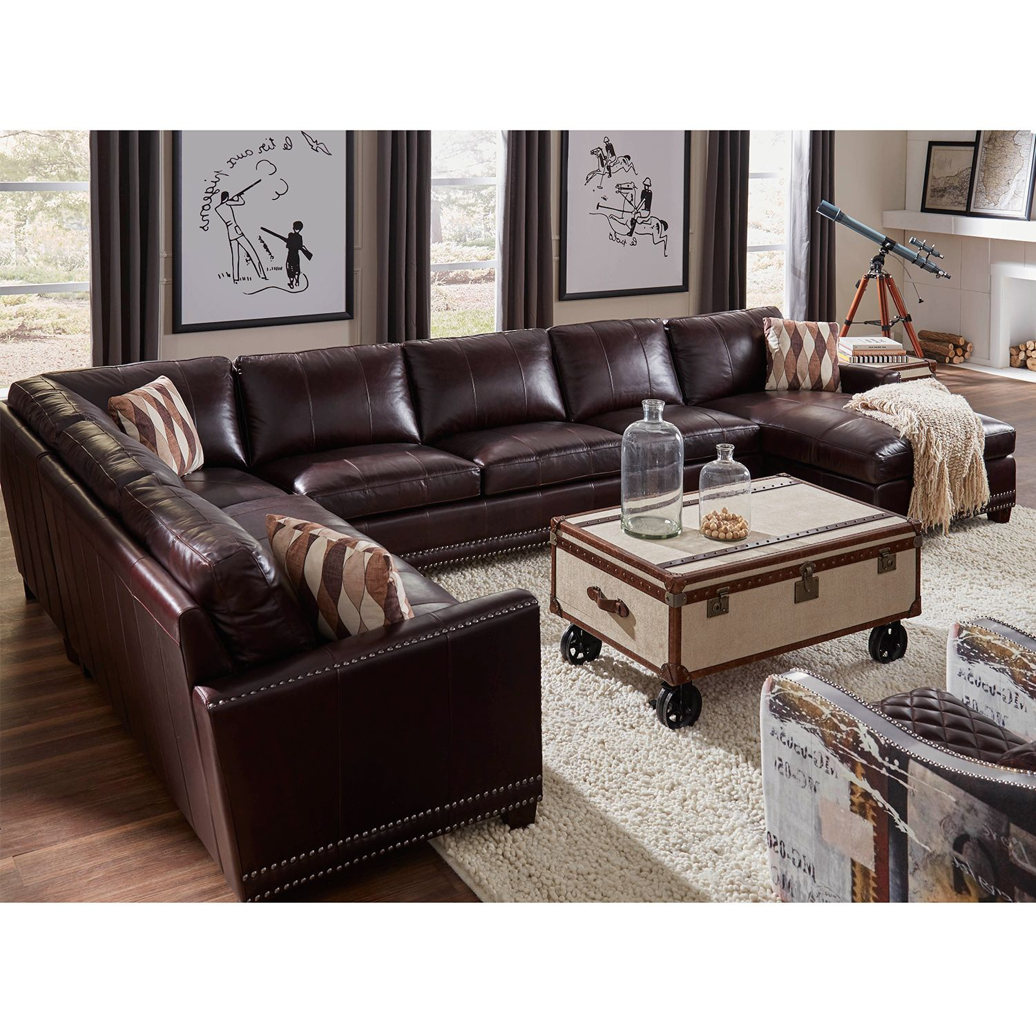 Lazzaro Furniture Bozeman Right Side Facing Chaise Sectional Sofa Dark  Chocolate Brown Vintage Leather