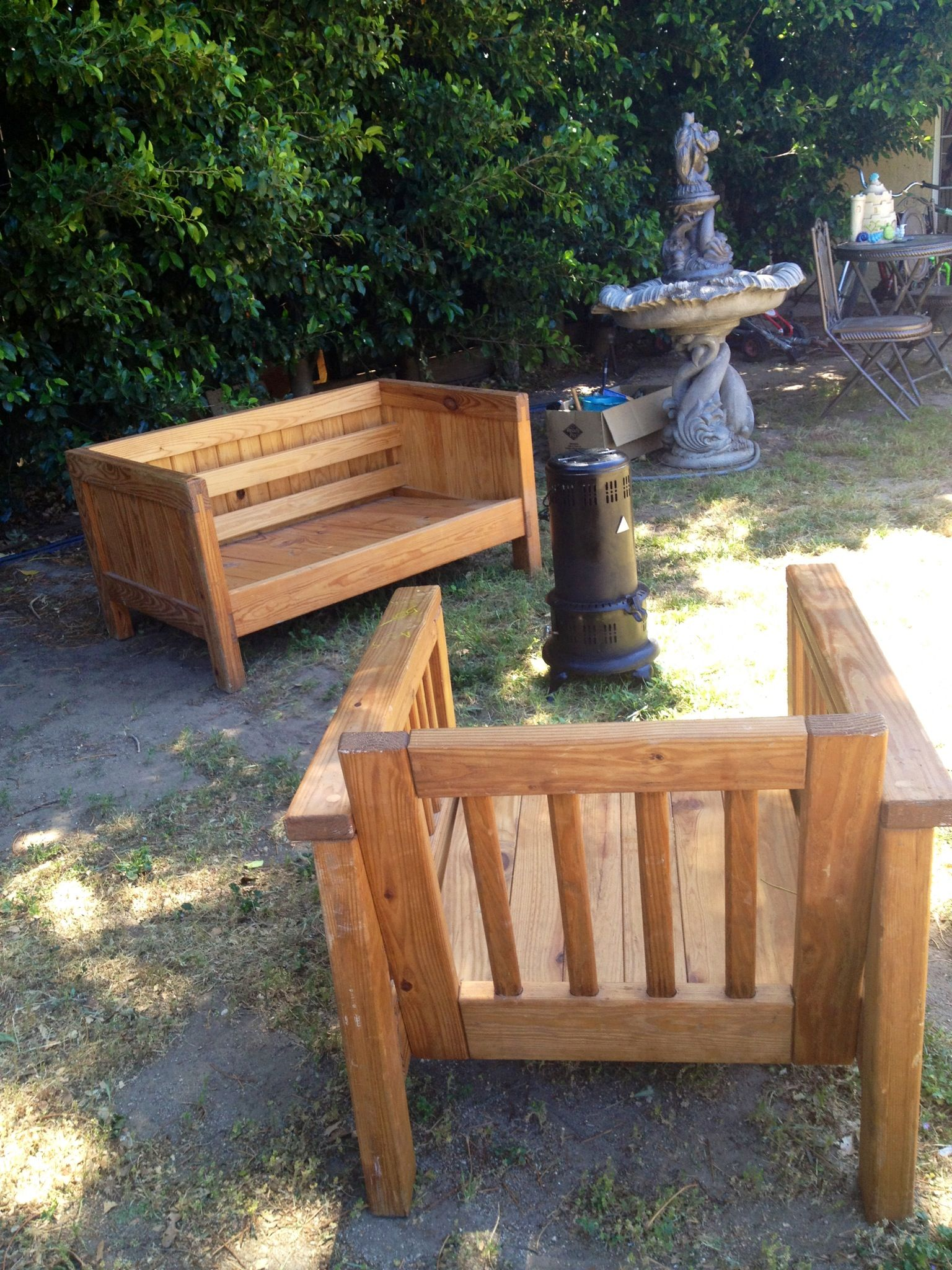 Handmade patio furniture before restoration