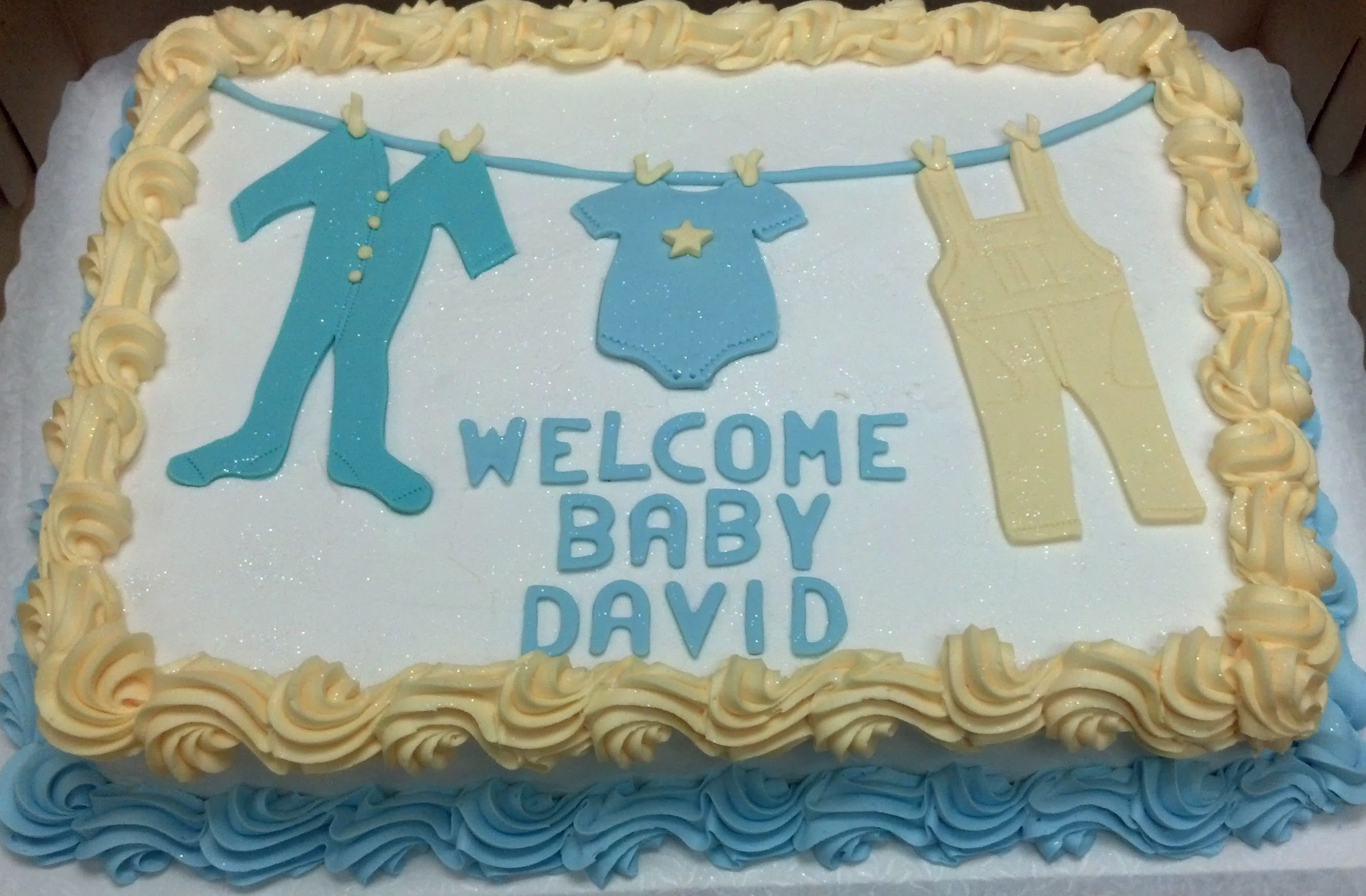 baby shower sheet cake its a boy its a girl clothesline onesie