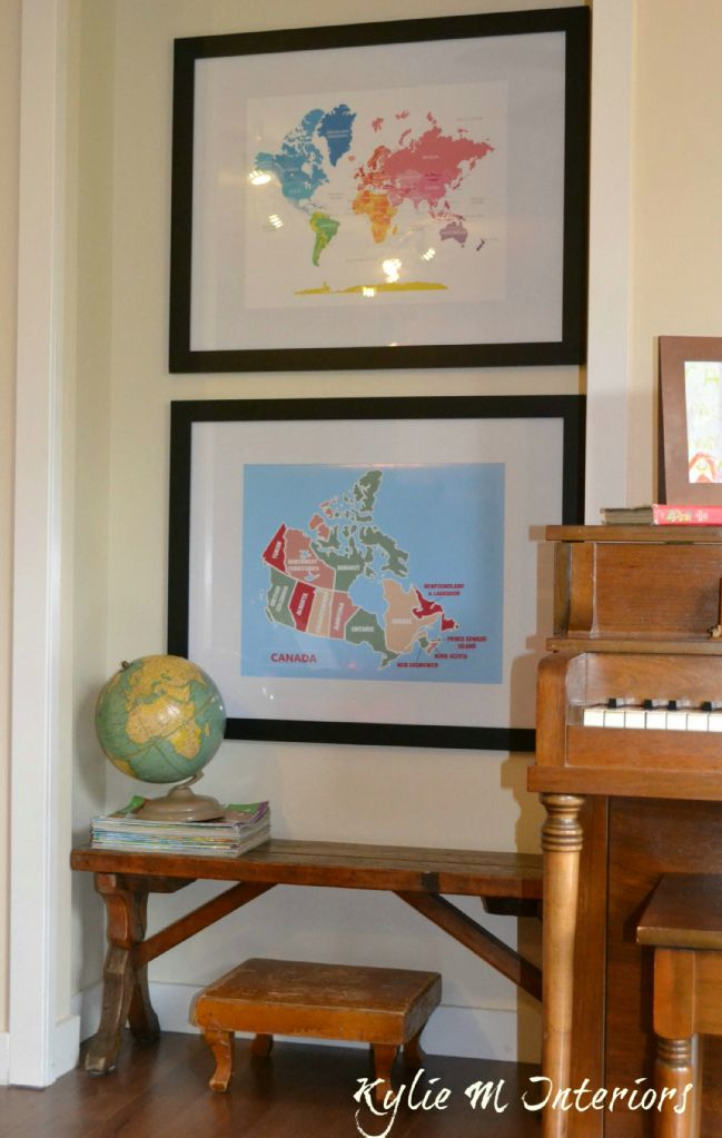 Decorating A Kids Playroom With Maps. Great Decorating Blog #Maps #MapDecor  #KidsDecor