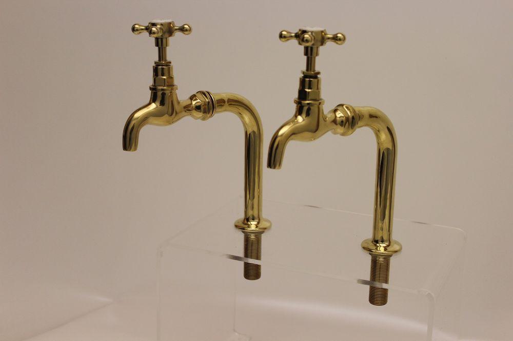 Traditional Kitchen Sink Polished Brass Belfast Bib Taps With Upstands New Belfast Sink Brass Tap Polished Brass