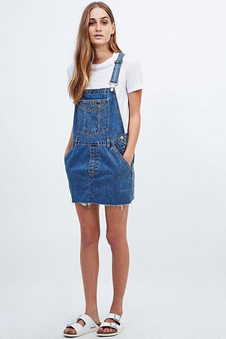 8bba159e66 Urban Renewal Vintage Re-Made Denim Dungaree Dress - Urban Outfitters