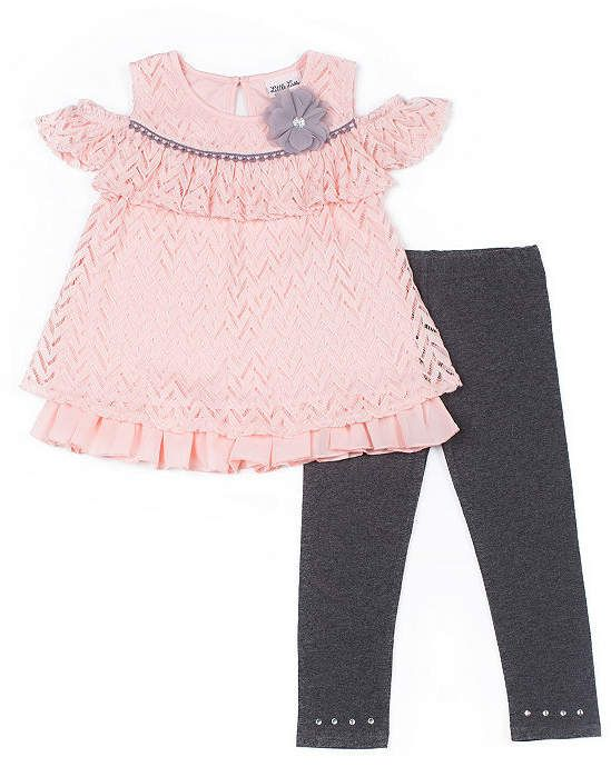 9abfb595b0c1 Little Lass Pink Cold Shoulder Legging Set - Preschool Girls ...