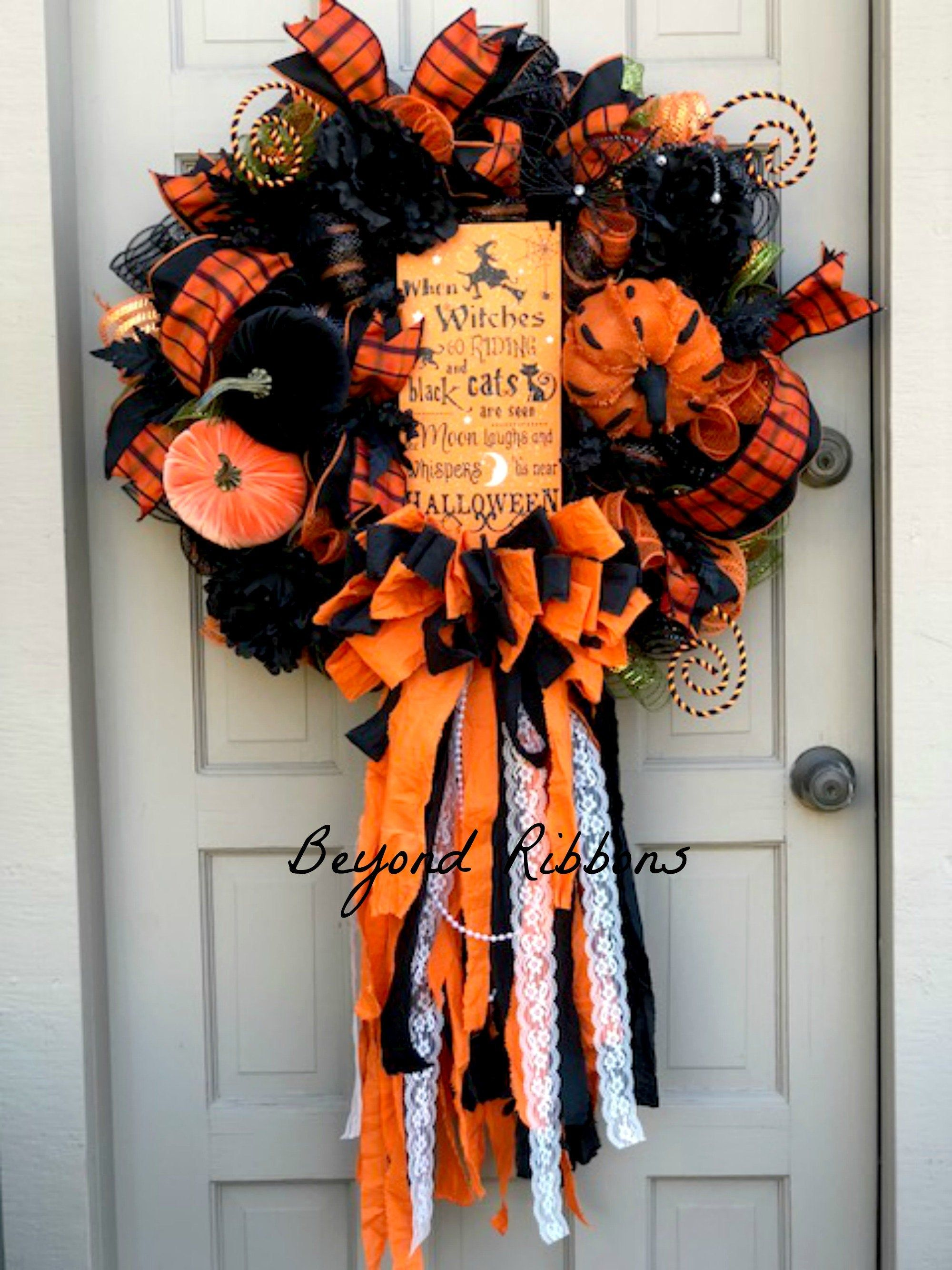 Halloween Pumpkin Rag Bow Wreath, Fall Wreath, Pumpkin Wreath, Front Door Wreath, Elegant Halloween Wreath, Halloween Decor, Mesh Wreath #eleganthalloweendecor