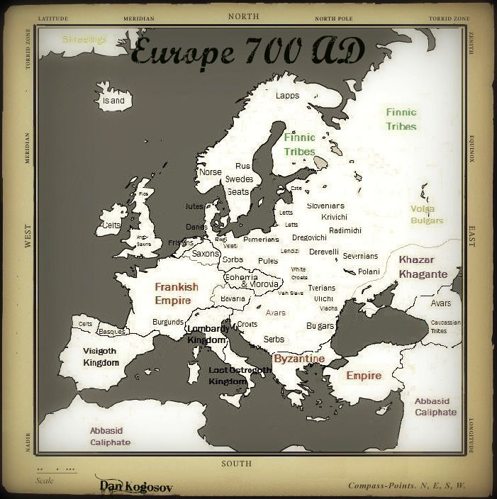 Map Of England 700ad.Map Of Europe And Its Various Kingdoms Circa 700 Ad History In