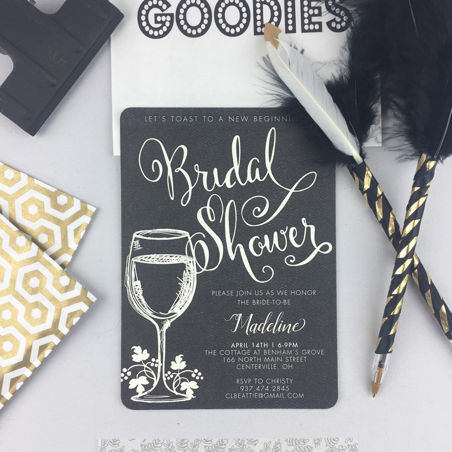 Vintage Winery Bridal Shower 5x7 Invitation with A7 Envelope // Wine ...