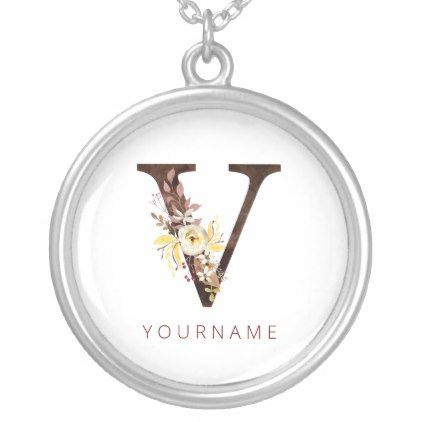 Floral Monogram V Rich Autumn Foliage Silver Plated Necklace | Zazzle.com #autumnfoliage