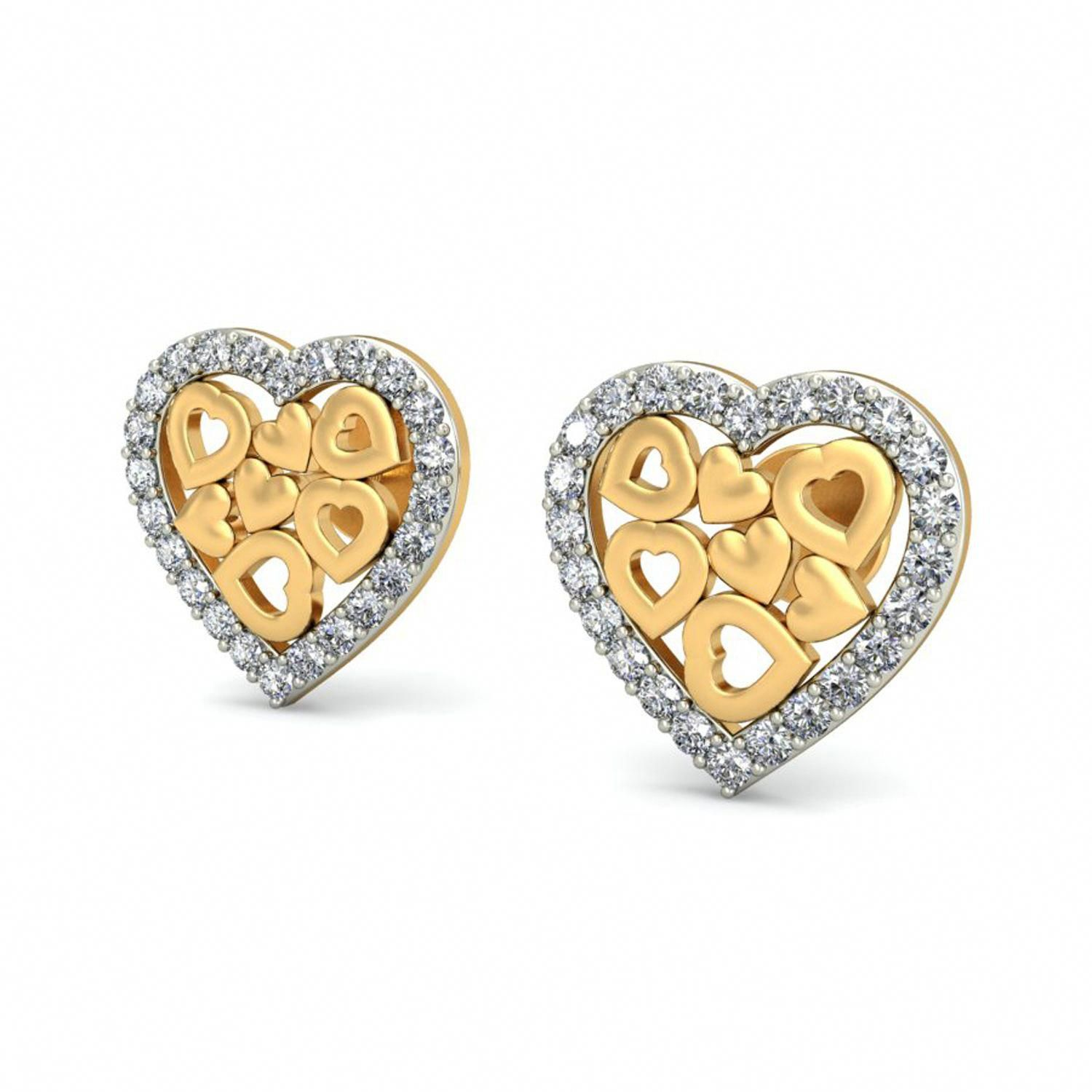 Heart Earrings Real Certified Diamond 0.29 Ct Solid Gold