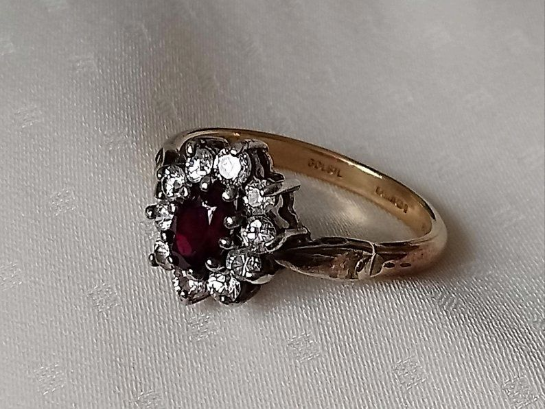 9 Ct Gold And Silver Ring With Garnet And Crystal Stones Etsy Gold And Silver Rings Silver Rings Stones And Crystals