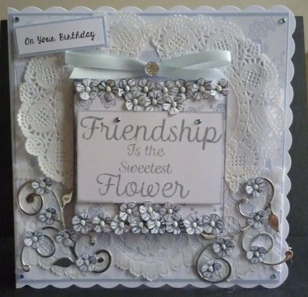 MDF plaque and background papers from Dreamees Delights. Honeydoo sentiment stamp and flower stamp