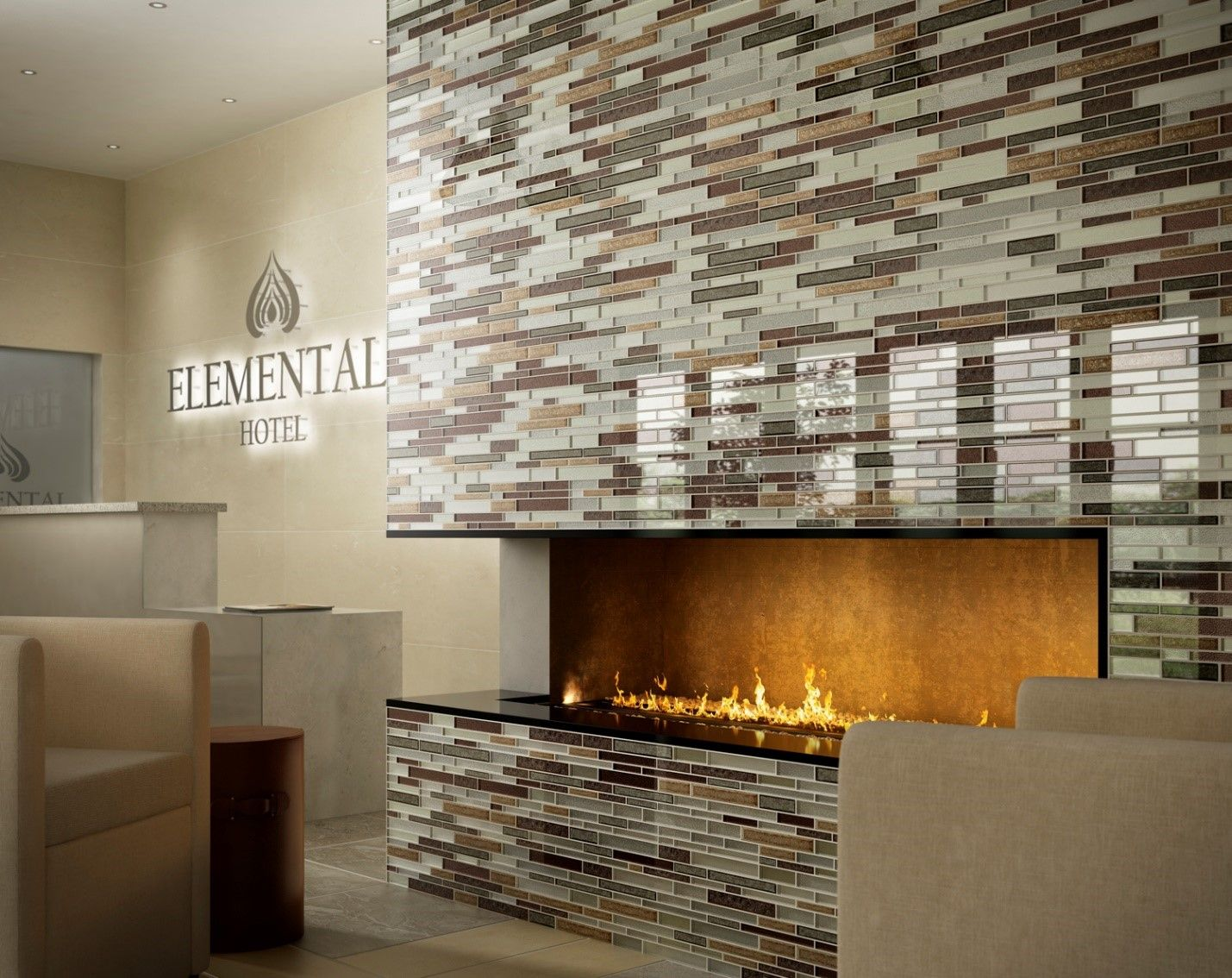 Explore The Fireplace, Fireplace Ideas, And More! The Smooth And Cool  Mosaic Tile Creates A Beautiful ...