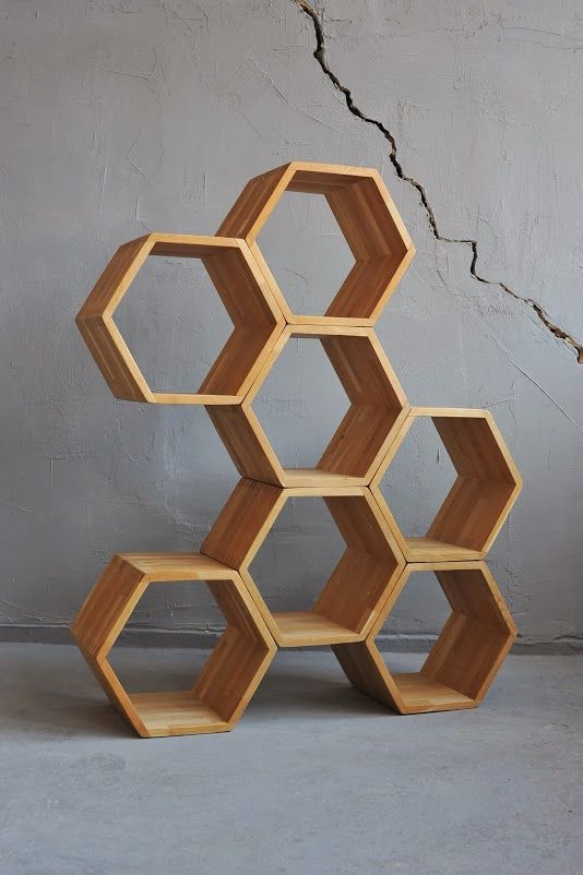 hexagon stacking box display  HONEYS by divadlo  Regale  Honeycomb shelves Furniture Design