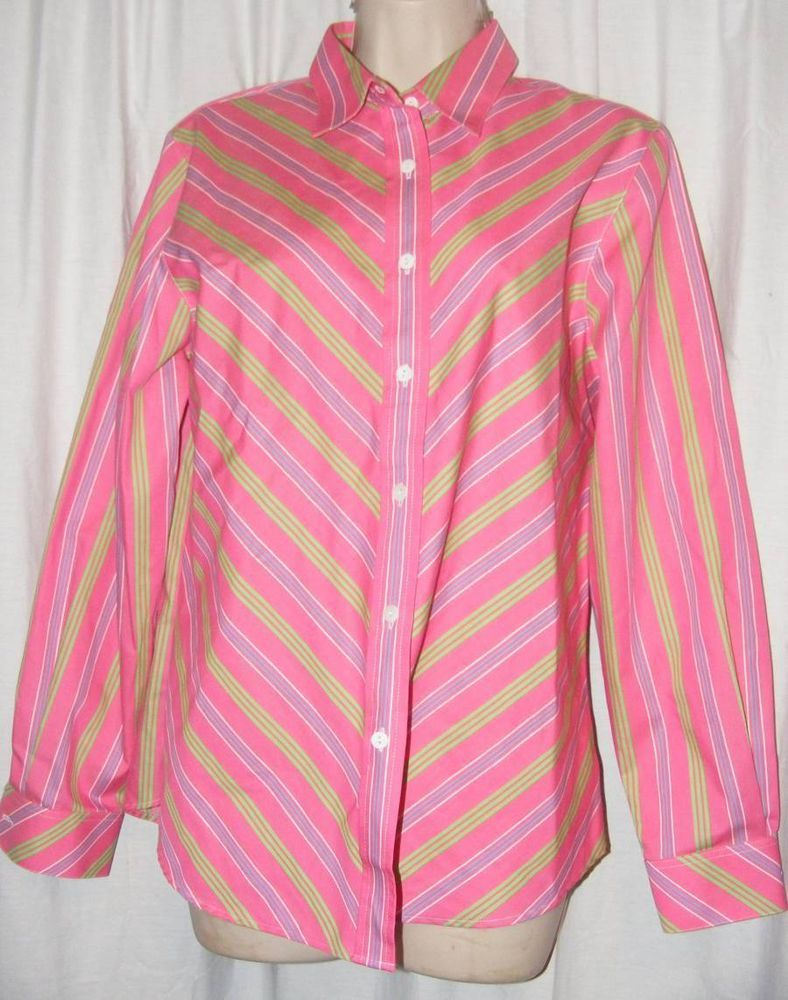 Foxcroft Wrinkle Free Pink Green Blue Striped Button Front Career Shirt Top 8 #foxcroft #wrinklefree #careershirt #ebay #fashion