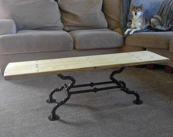 Pipe Coffee Table Powder Coated Reclaimed by PipeDreamTablesVT