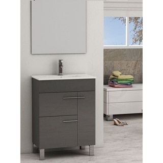Eviva Cup 24 Inch Grey Modern Bathroom Vanity With White Integrated Porcelain Sink