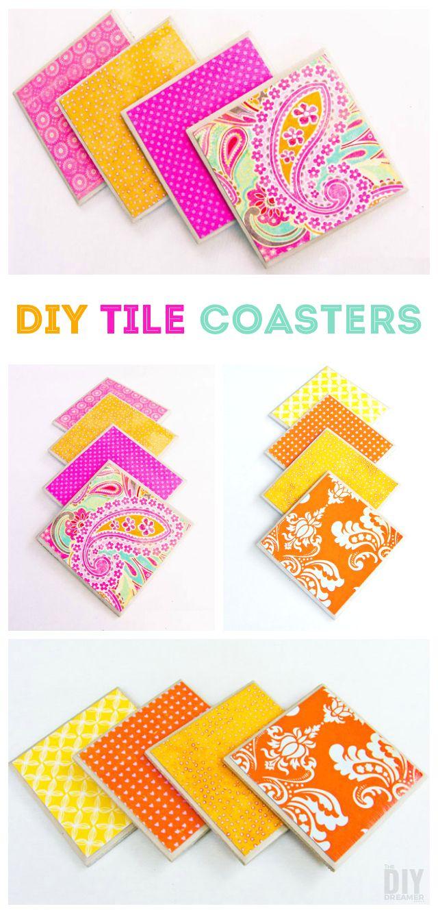 Beautiful DIY Tile Coasters!!! | DIY | Pinterest | Tile ...