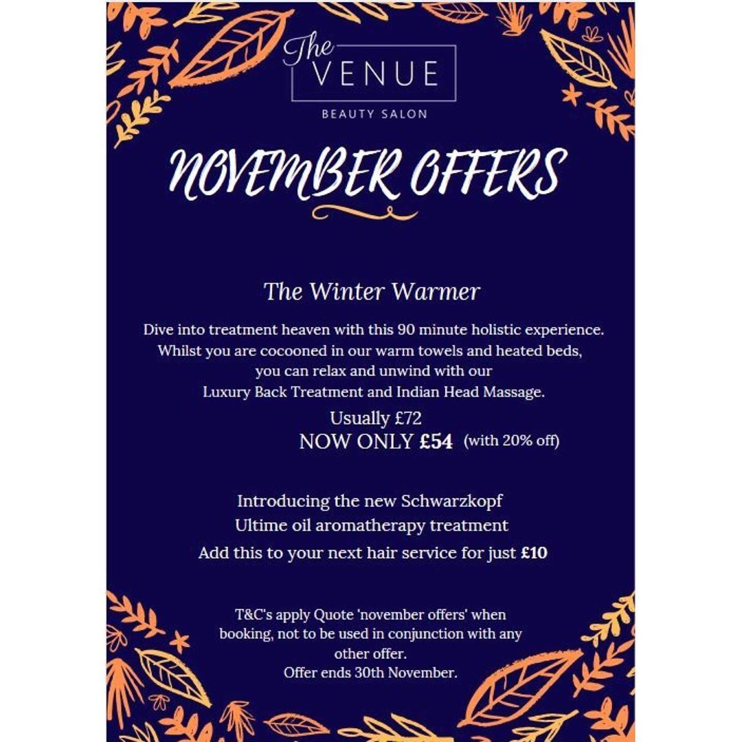Hello November  We have a fantastic offer for you this month! Relax and unwind here at The Venue   Book now to avo... #hellonovembermonth Hello November  We have a fantastic offer for you this month! Relax and unwind here at The Venue   Book now to avo... #hellonovembermonth