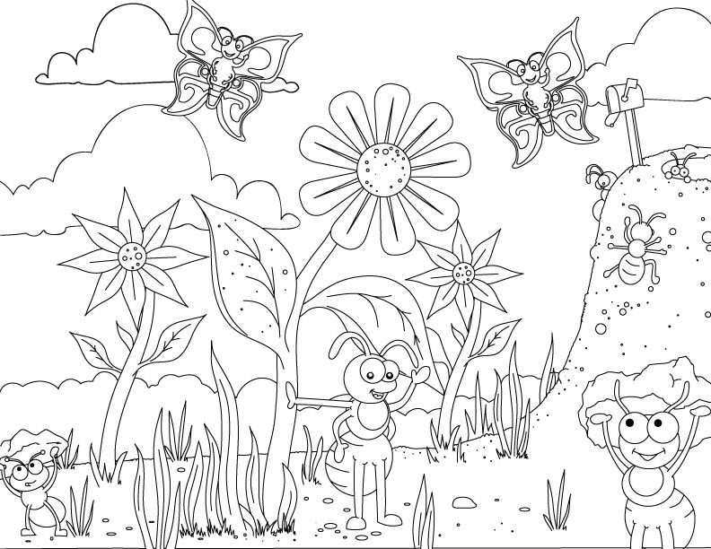 Fun ant coloring page for your creative one Buggy Fun