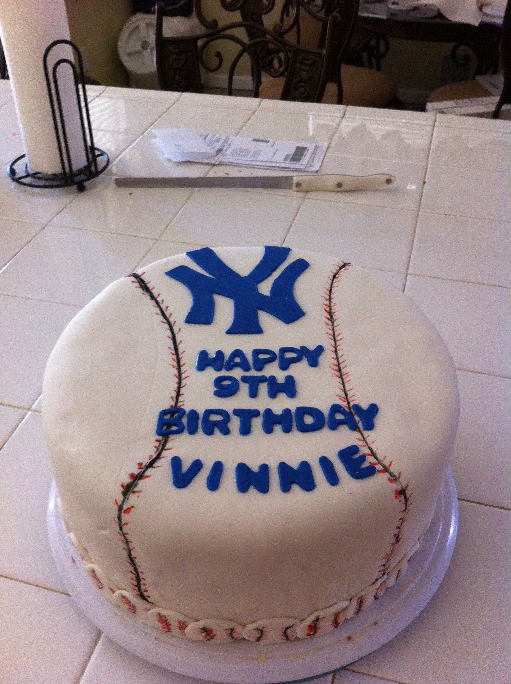 New York Yankees Cake Happy Birthday Vinnie