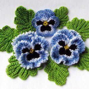 Irish Crochet Flower Pattern PDF, Stiefmütterchen Foto Tutorial, Frühlingsblumenstrauß, Applique oder Brosche - #Applique #Brosche #Crochet #Flower #Foto #Frühlingsblumenstrauß #Irish #oder #Pattern #PDF #Stiefmütterchen #Tutorial