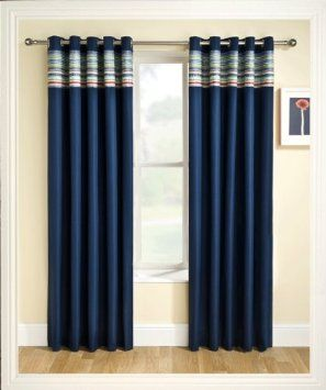 Charming Ready Made Eyelet Thermal Blackout Curtains With Co Ordinating Aztec Detail  Panel. Colour And