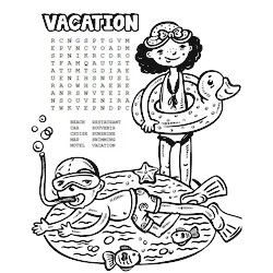 printable vacation word search for quiet time fun in the sun available at wwwfreekidscrafts