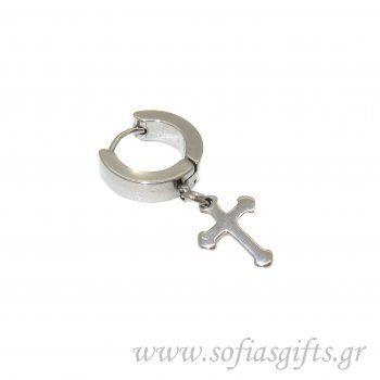 fefc0016417e Ανδρικό σκουλαρίκι κρίκος σταυρός ασημί  ανδρικά  σκουλαρικια  andrika   skoularikia  kosmhmata