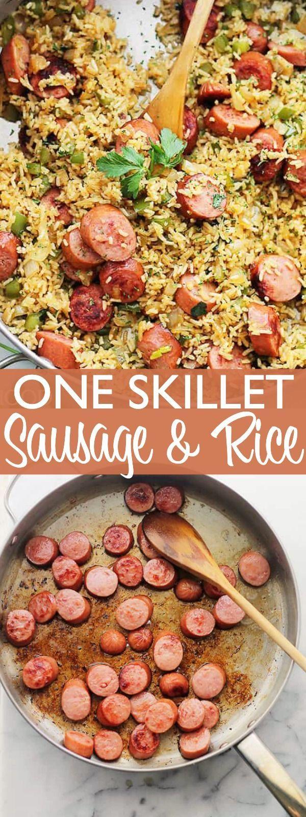 One Skillet Sausage and Rice - Bratwurst mit Reis ist eine leichte ... -  One Skillet Sausage and Rice – Wurst mit Reis ist ein einfaches Rezept für ein Abendessen unter  - #antiquedecor #apartmentdecor #bedroomdecor #bratwurst #eine #hamburgermeatrecipes #homedecor #ist #leichte #mit #mushroomrecipes #pioneerwomanrecipes #ramennoodlerecipes #Reis #Rice #sausage #sausagerecipes #skillet #tacorecipes #thairecipes #whole30recipes #sausagedinner