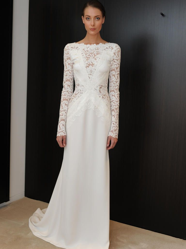 J mendels wedding dresses 2015 feature sleek and structured j mendel cutout lace wedding dress with sleeves from spring 2015 junglespirit Images