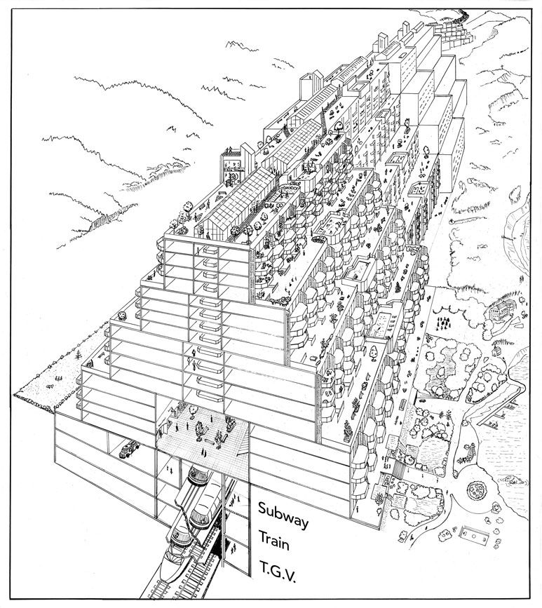 A section of a building in the linear city demonstrating