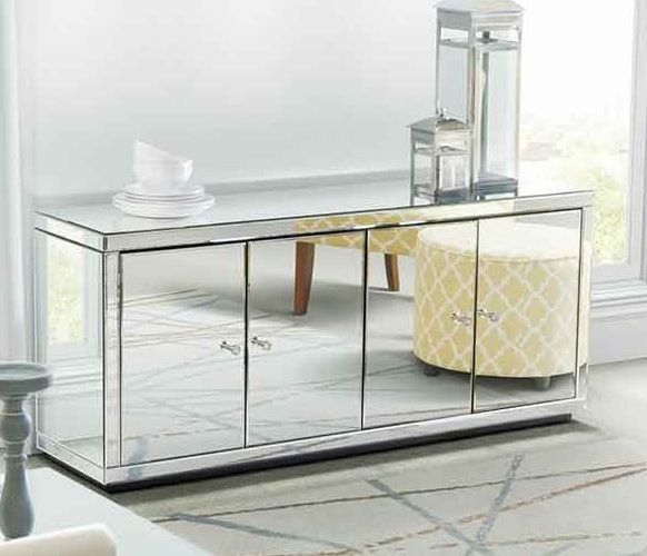 Mirrored Side Board Glass Cabinet Mirror Silver Tv Stand Modern