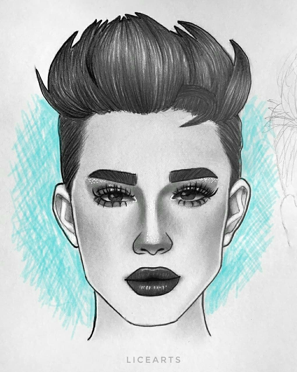 James Charles Drawing Graphite Makeup Look Cool Background With
