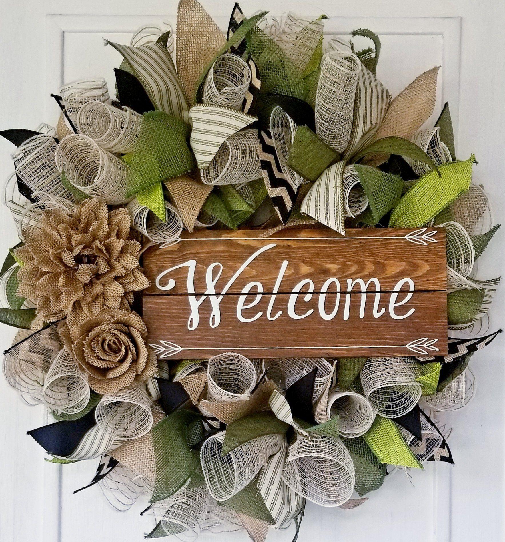 Photo of Beautiful Welcome Wreath, Everyday Wreath, Spring Wreath, Front Door Wreath, DecoMesh Wreath, Burlap Wreath, Green Wreath, Farm House Wreath