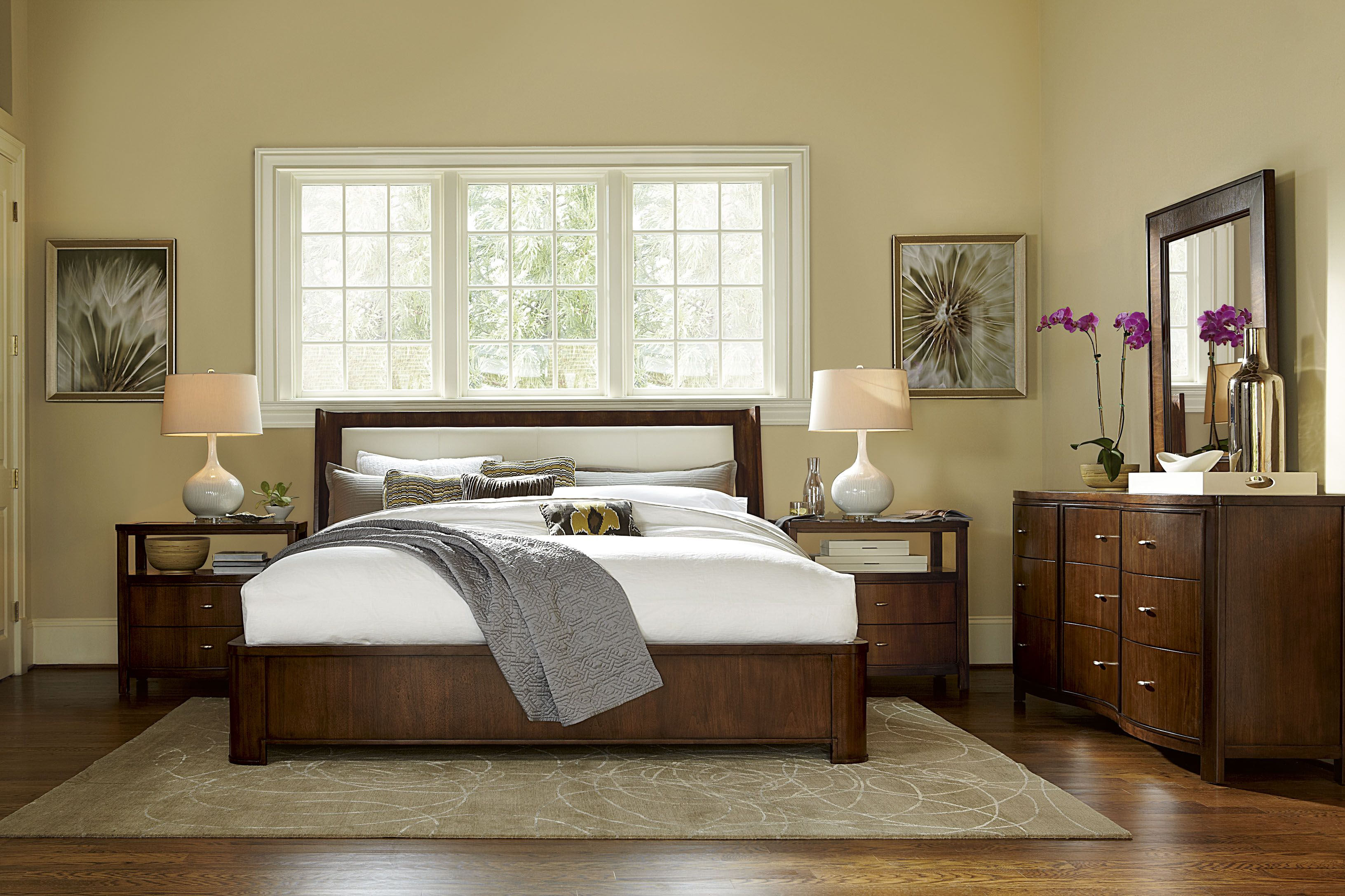 Interval Collection Upholstered Bed, Drawer Nightstand