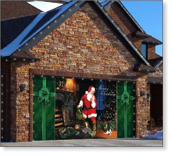 Christmas Lights Around Garage: Garage Door Decor Santa's Secret (2car)