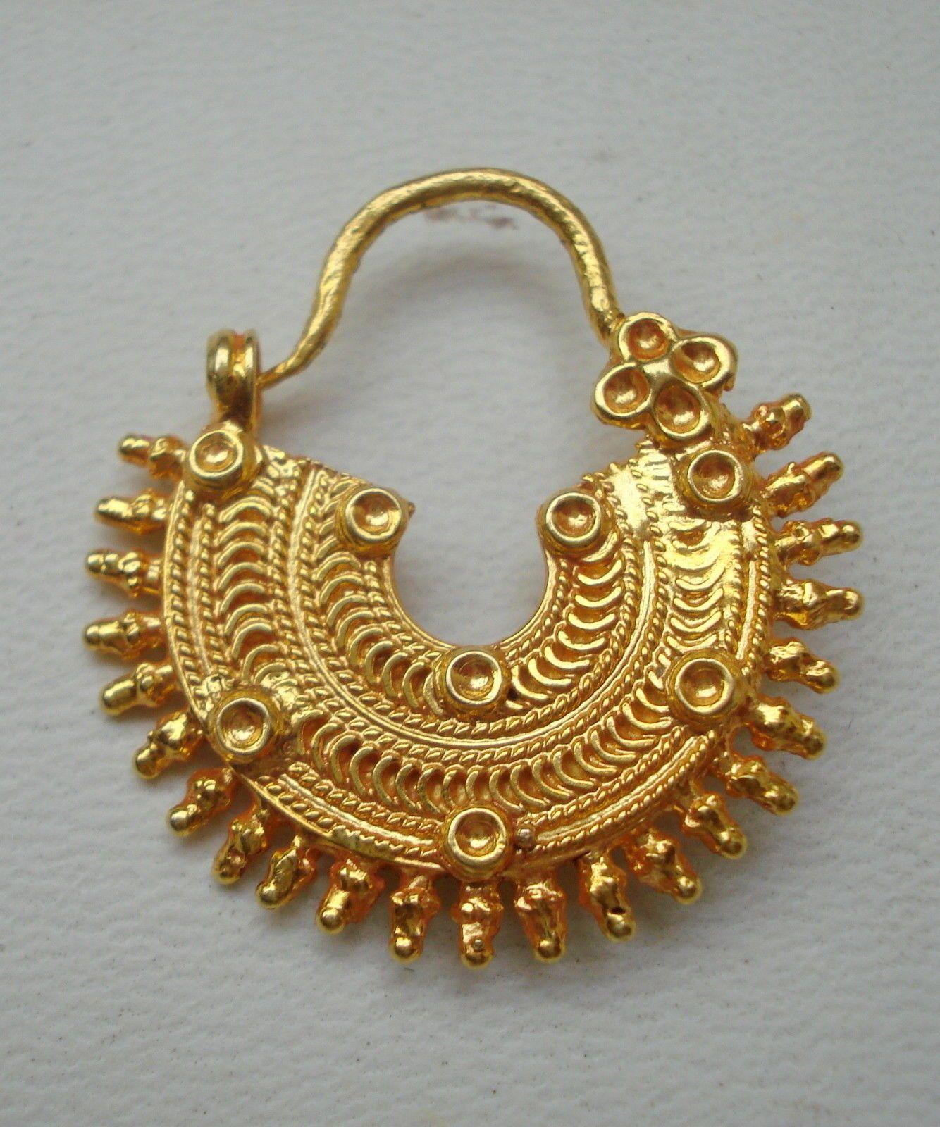 traditional design 20k gold nose ring nath nose ornament rajasthan ...