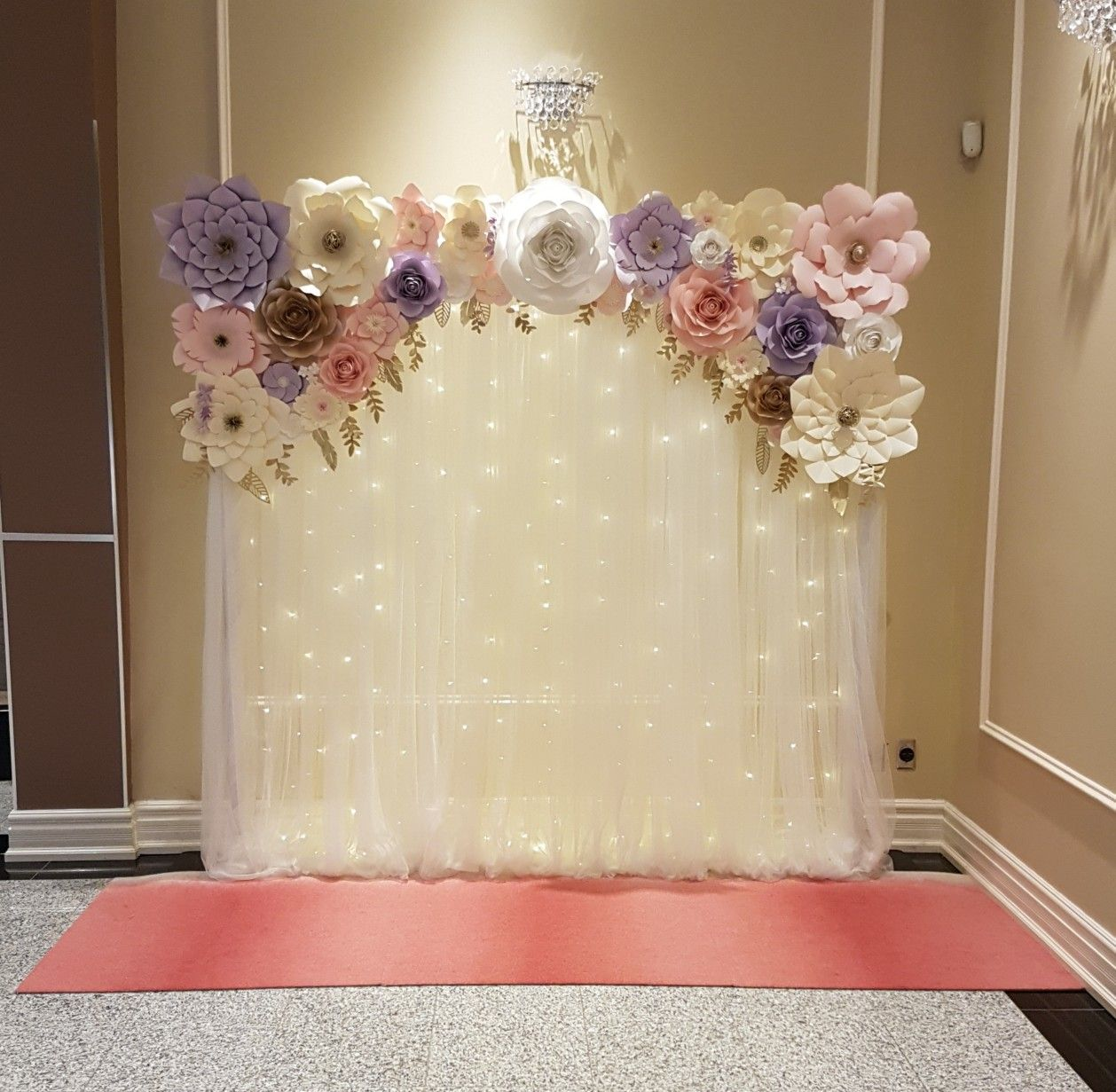 Pink And Purple Paper Flower Backdrop With Fairy Lights For A