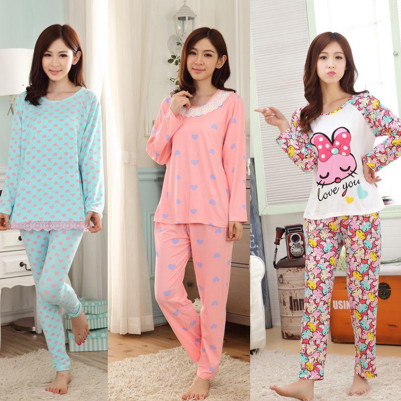 سعر منخفض الربيع والخريف منامة النساء منامة طويلة الأكمام الكرتون فتاة جميلة الحليب الحرير النساء النوم الترفيه ا Sleepwear Women Pajamas Women Women Nightwear