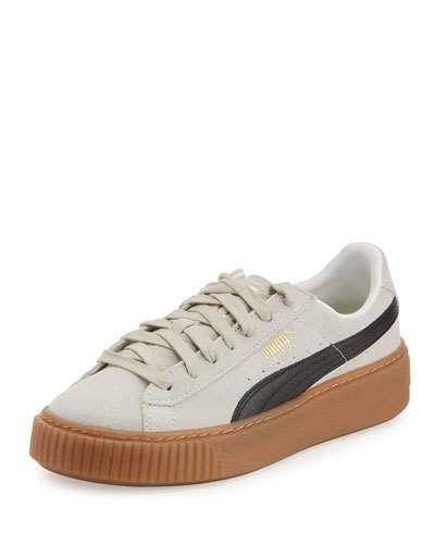 Basket Suede Platform Creeper, Whisper White Black    Neiman Marcus ... 0847504849
