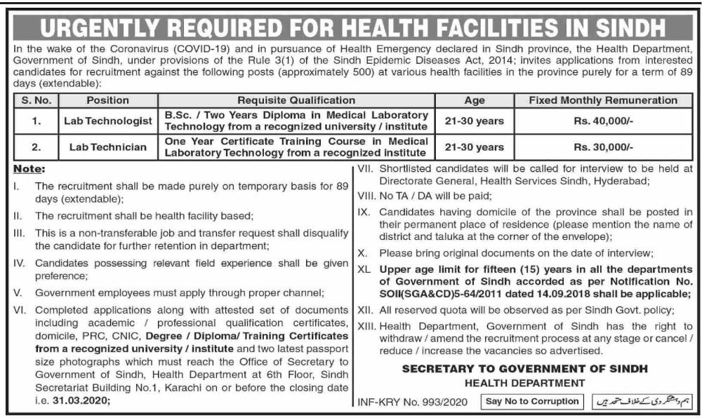 Health Department Sindh Urgent Jobs,Health Department