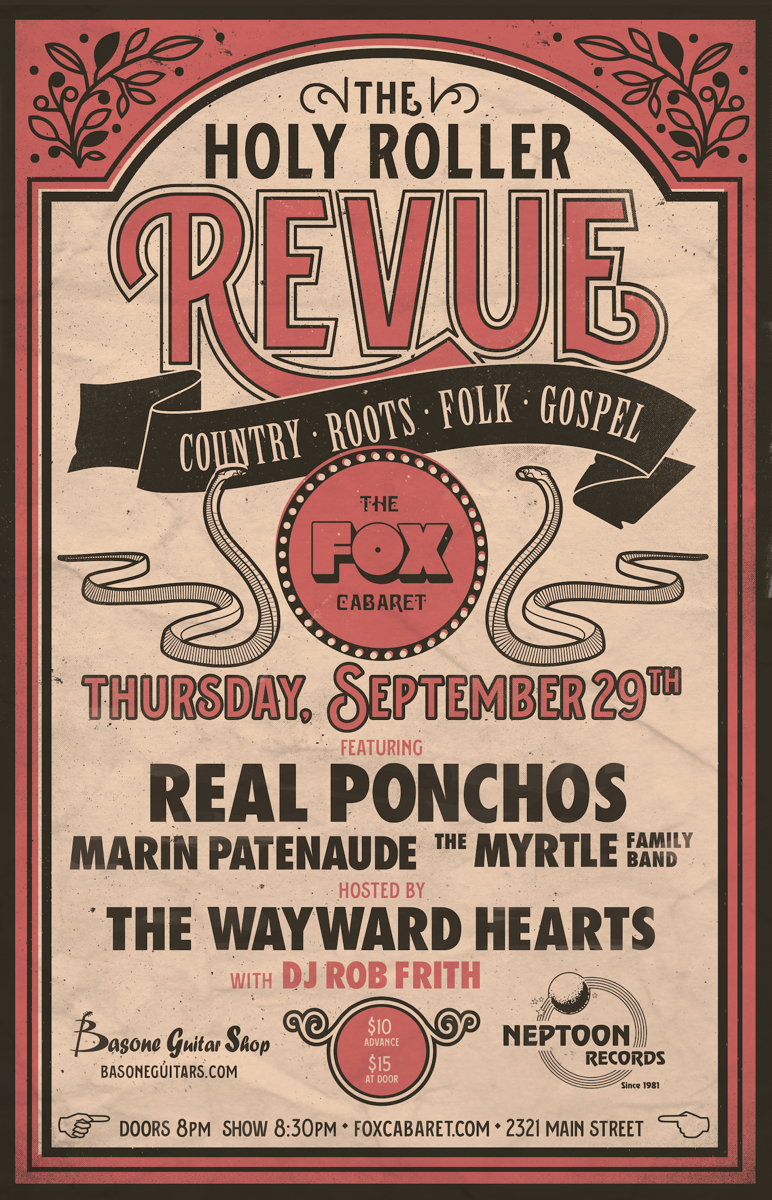 Vintage inspired Poster design for Country/Roots/Folk Music Series in Vancouver