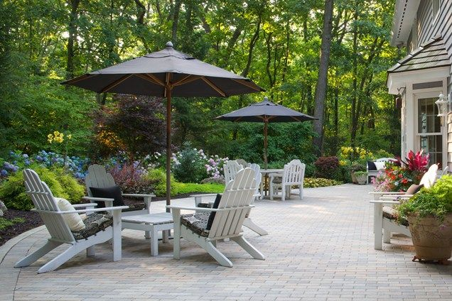 brick paver patio white adirondack chairs patio smalls