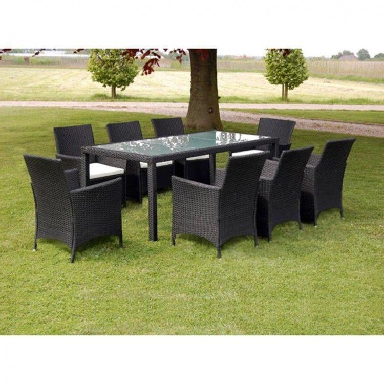 Rattan 8 Seater Dining Set Outdoor Garden Patio Furniture Black