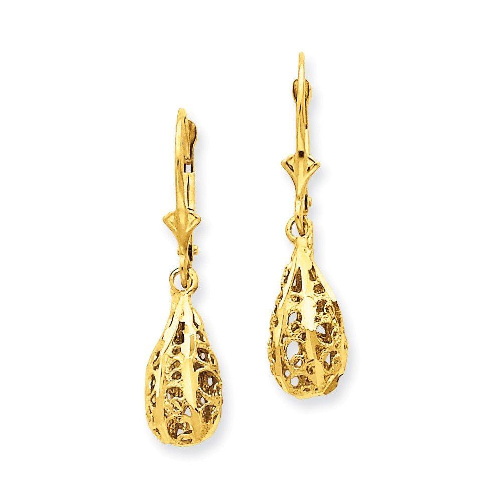 Sterling Silver Diamond-cut Filigree Butterfly Dangle Leverback Earrings