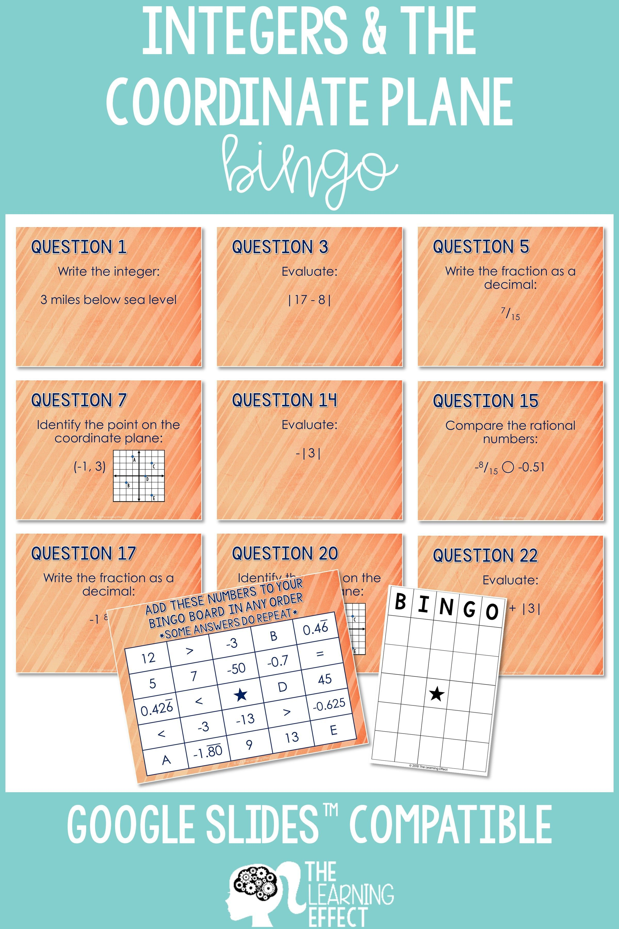Integers And The Coordinate Plane Bingo Game With Images
