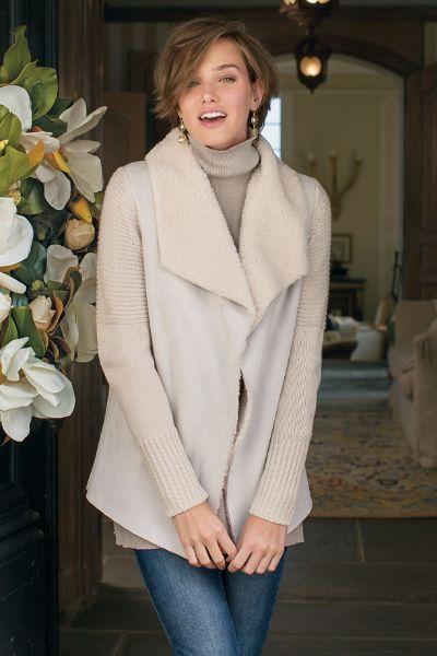 Sierra Sweater I - Faux Suede Sweater, Faux Suede Sweater Jacket   Soft Surroundings