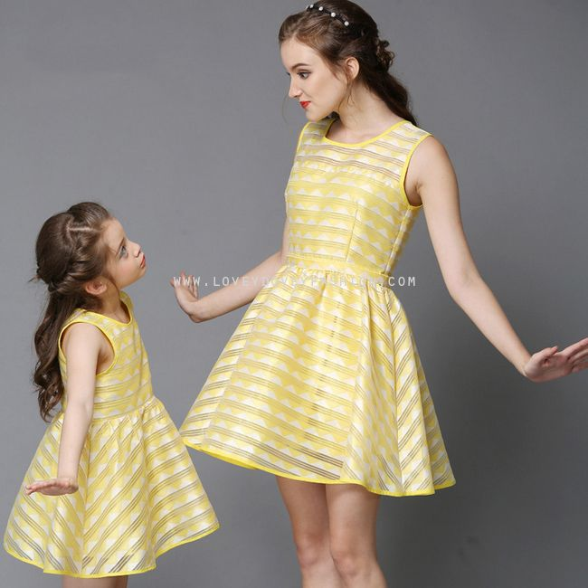 LOVEY DOVEY FASHION MOTHER-DAUGHTER MATCHING YELLOW STRIPE ORGANZA DRESS