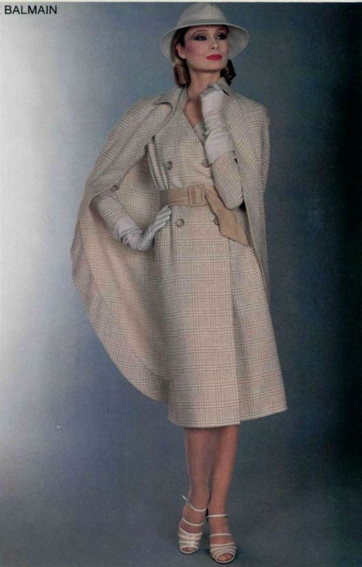 1979 Balmain Late 70s Tan Outfit Suit Safari Double Breasted Belt Shoes Hat Cape Coat Designer