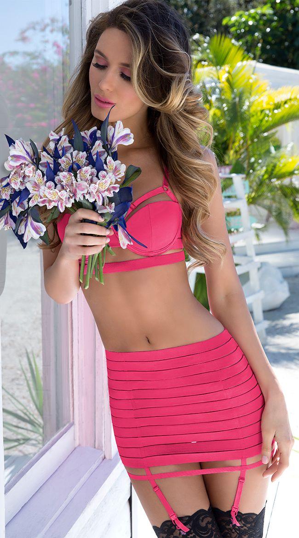 d43ced2d200 Pink Bandage Style Bra and Garterbelt